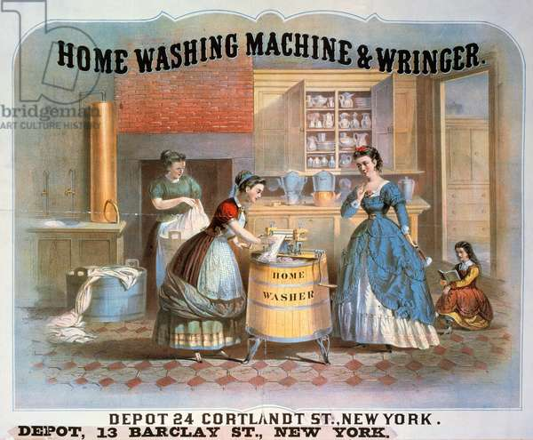 WASHING MACHINE AD, 1869 American lithograph advertising poster.