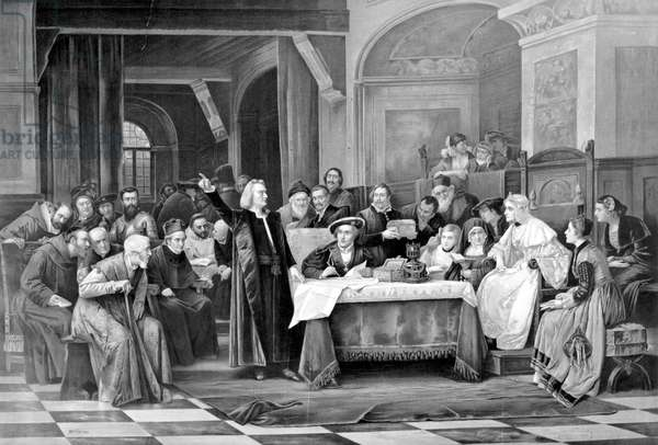 COLUMBUS AT SPANISH COURT Lithograph aftr the painting, 1884, by Vaclav Brozik.