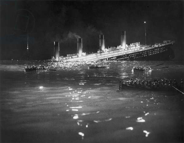 TITANIC: RE-CREATION, 1912 A Hollywood re-creation of the sinking of the 'Titanic' in 1912. No actual photograph of the event exists.