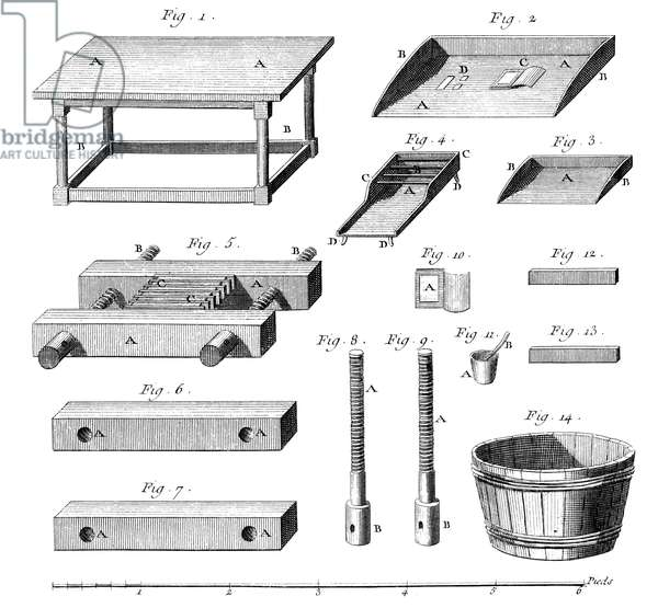BOOKBINDING, 18TH CENTURY Bookbinding tools and press. Copper engraving from 'L'Encyclopedie' of Denis Diderot, 18th century.