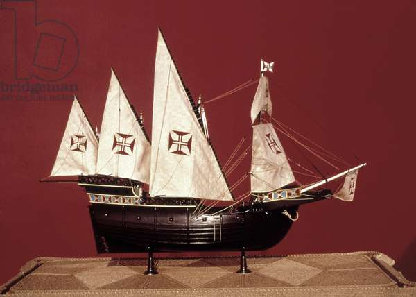 PORTUGUESE CARAVEL Model of a Portugese square-sail caravel, used between the 15th and 17th centuries.