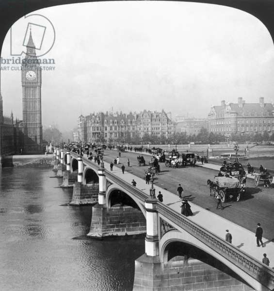 LONDON: BIG BEN View from Westminster Bridge, London, 1901; stereograph.