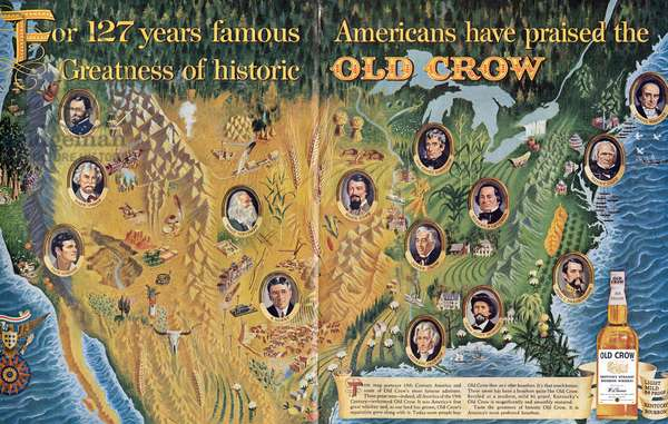 AD: OLD CROW, 1962 Advertisement for Old Crow Bourbon Whiskey, 1962.