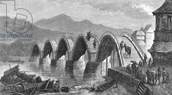 JAPAN: IWAKUNI BRIDGE Kintai Bridge at Iwakuni, Japan. Line engraving, 1877.