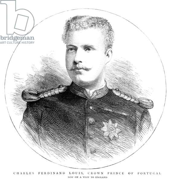 CARLOS I (1863-1908) King of Portugal and the Algarves. Engraved portrait while crown prince, 1883.