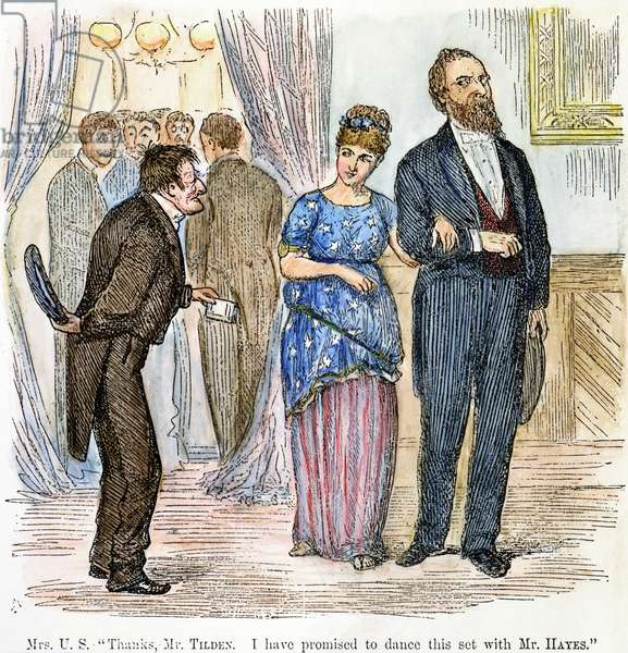 ELECTION CARTOON, 1877 'Thanks, Mr Tilden. I have promised to dance this set with Mr Hayes.' An 1877 American cartoon on the contested Rutherford B. Hayes vs. Samuel Tilden 1876 presidential election, which resulted in a Hayes victory after twenty disputed electoral votes were awarded to him.