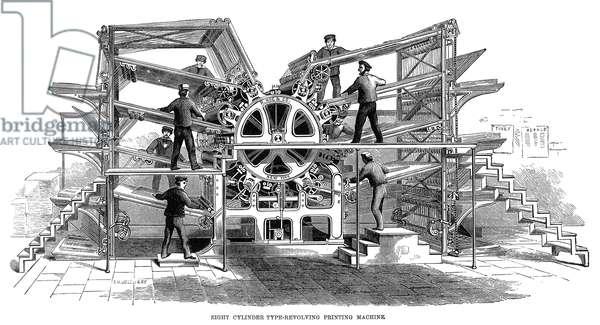 PRINTING PRESS, 1847 Richard Hoe's eight-cylinder revolving newspaper printing press. Contemporary wood engraving.