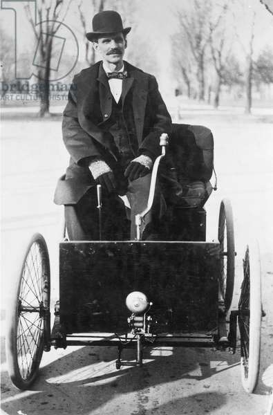HENRY FORD (1863-1947) American automobile manufacturer. With his first automobile in 1896.
