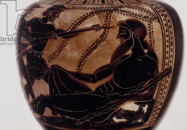 Odysseus blinding Polyphemus, Attic black-figured oenochos, 6th century B.C.