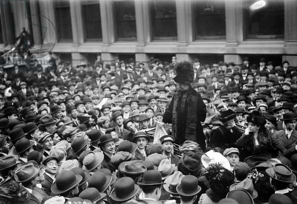 EMMELINE PANKHURST (1858-1928). English suffragette. Speaking at rally for women's suffrage on Wall Street. Photograph, 27 November 1911.