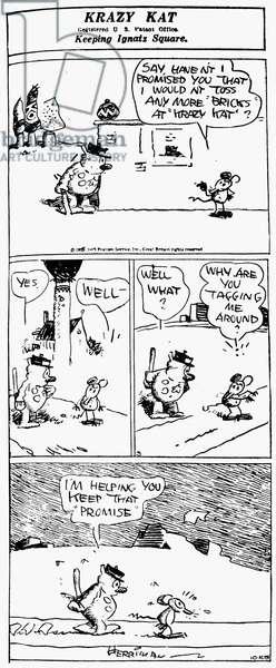 KRAZY KAT, 1929 A 'Krazy Kat' comic strip by George Herriman, 1929.