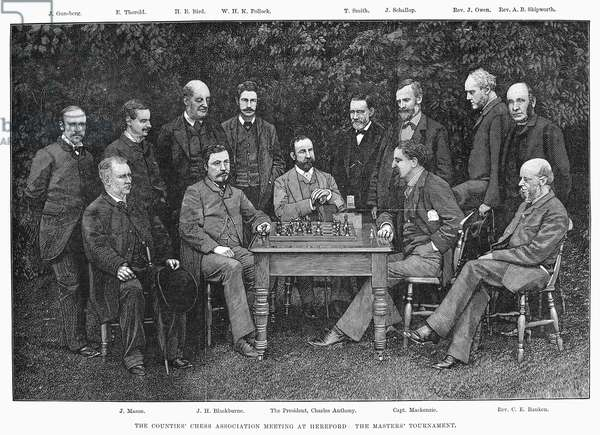 CHESS ASSOCIATION, 1885 Masters Tournament at the Counties' Chess Association Meeting at Hereford, England. Line engraving, 1885.