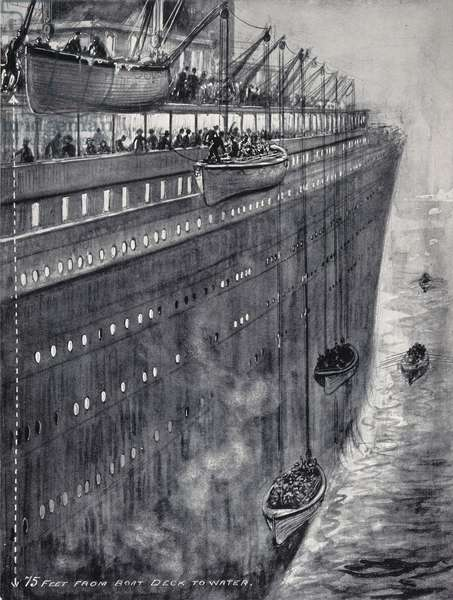 """THE 'TITANIC,' 1912 The lowering of the lifeboats on the White Star liner """"Titanic"""" after she had struck an iceberg in the North-Atlantic on April 14, 1912: contemporary illustration."""