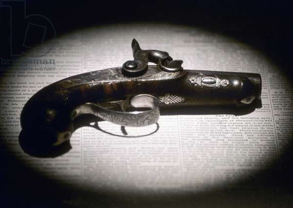 LINCOLN ASSASSINATION The Derringer pistol used by John Wilkes Booth to assassinate Abraham Lincoln on 14 April 1865.