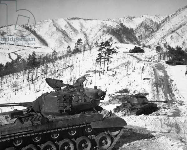 KOREAN WAR: TANKS, c.1950 U.S. Marine tanks in North Korea. Photographed c.1950.