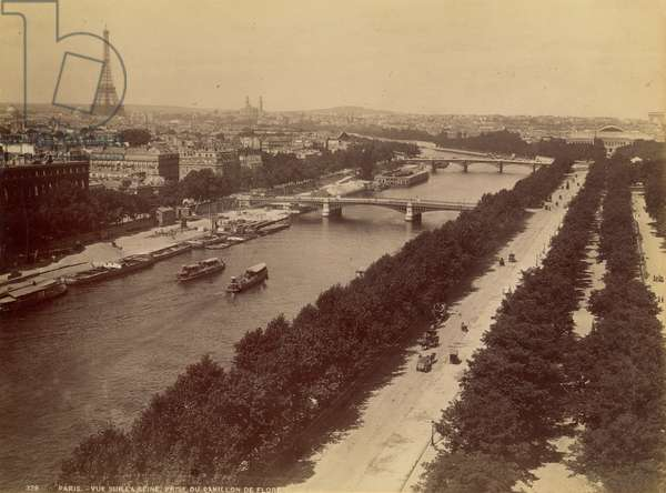PARIS: RIVER SEINE, 1900 A view of the River Seine, with the Eiffel Tower in the background: photograph, c.1900.