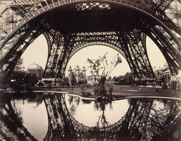 PARIS: EIFFEL TOWER, 1889 A view of the base of the Eiffel Tower and the grounds of the Exposition Universelle of 1889 in Paris, France. Photograph, 1889.