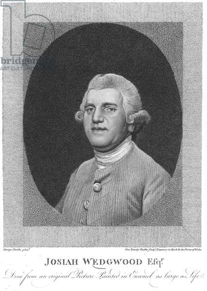 JOSIAH WEDGWOOD (1730-1795). English potter. Stipple engraving, 1795, by George Townley Stubbs after a painting, 1780, by George Stubbs.
