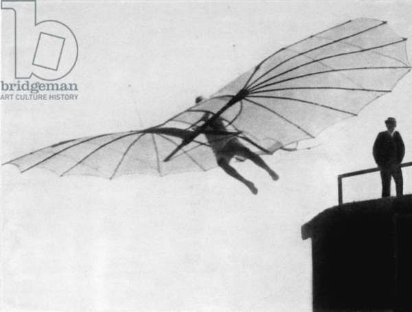 OTTO LILIENTHAL (1848-1896) One of Otto Lilienthal's earliest glider flights, 1893.
