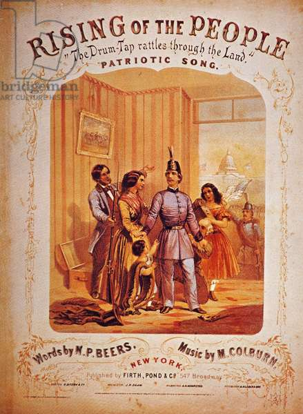 CIVIL WAR SONG COVER Rising of the People/ The Drum-Tap Rattles Through the Land: American Civil War lithograph sheet music cover, published at New York.