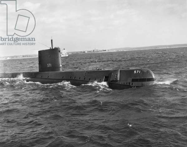 SUBMARINE: USS NAUTILUS The USS Nautilus, SSN-571, the world's first nuclear submarine, photographed during sea trials in 1955.