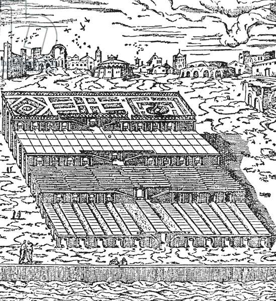 BABYLON: HANGING GARDENS The Hanging Gardens of Babylon. Woodcut reconstruction, 1592, from the description by Herodotus (c480-c425 B.C.) who visited Babylon.