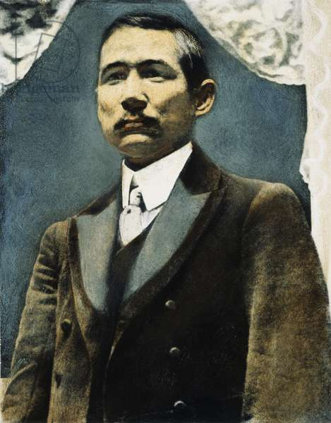 SUN YAT-SEN (1866-1925) Chinese statesman and revolutionary leader. Oil over a photograph, 19th century.