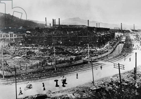 WORLD WAR II: NAGASAKI Ruins of the steel works of the Nagasaki shipbuilding yard, viewed from the Shatokuji Temple, after the atomic bomb was dropped on the city, August 1945.