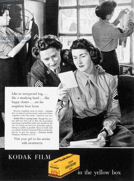 KODAK ADVERTISEMENT, 1944 Advertisement for Kodak film from an American magazine during World War II.