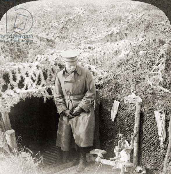 WORLD WAR I: AISNE, 1917 American officer in camouflaged trench at Chemin des Dames, France, near the hardest fighting at the Second Battle of the Aisne. Stereograph, 1917.
