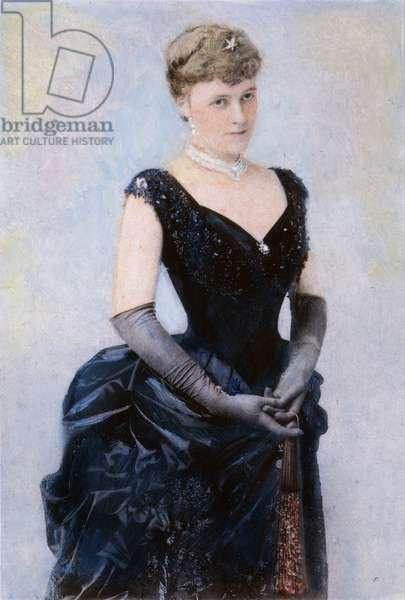 EDITH WHARTON (1862-1937) American writer. Oil over a photograph, c.1885.