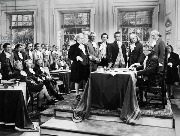 DECLARATION OF INDEPENDECE A 20th century film depiction of the signing of the Declaration of Independence at Independence Hall in Philadelphia, Pennsylvania, 4 July 1776.