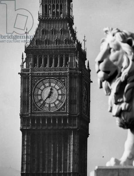 LONDON: BIG BEN, c.1960 Big Ben clock tower in London, England. Photograph, c.1960.