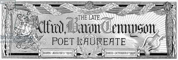 ALFRED TENNYSON (1809-1892) 1st Baron Tennyson. English poet. Ornamental engraving commemorating the poet's death in 1892.
