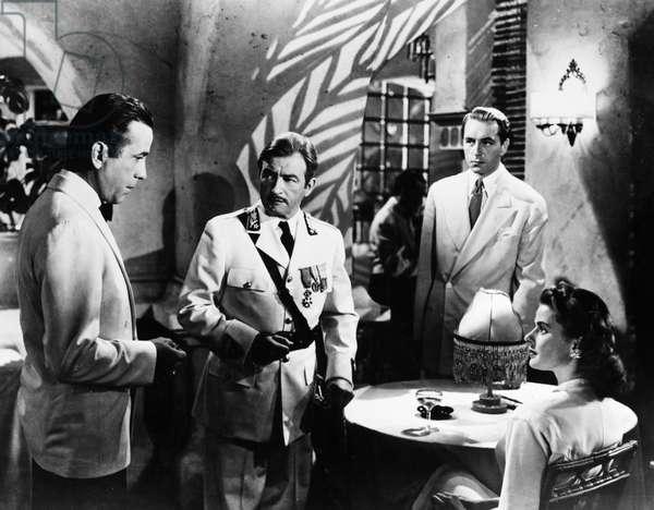 FILM: CASABLANCA, 1942 From left: Humphrey Bogart, Claude Rains, Paul Henreid and Ingrid Bergman at Rick's Café in a scene from 'Casablanca,' 1942.