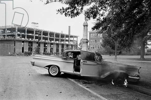OLE MISS RIOT, 1962 The University of Mississippi campus in Oxford, Mississippi, after the riots caused by white segregationists protesting the enrollment of James Meredith, the first black student. Photograph by Marion Trikosko, October 1962.