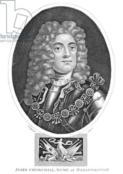 JOHN CHURCHILL (1650-1722) 1st Duke of Marlborough. English military commander. Aquatint, English, 1801.
