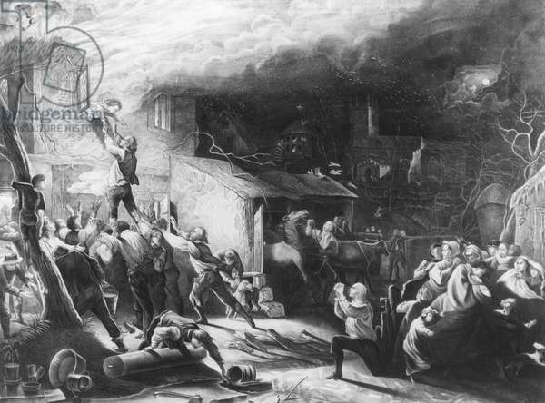 JOHN WESLEY (1703-1791) English theologian and founder of Methodism. The rescue of the young John Wesley from the fire that destroyed the rectory of his father Samuel, center right on bended knee, at Epworth, Lincolnshire, England, 9 February 1709: line engraving, 19th century.