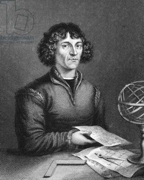 NICOLAUS COPERNICUS (1473-1543) Polish astronomer. Line engraving, English, 1824.
