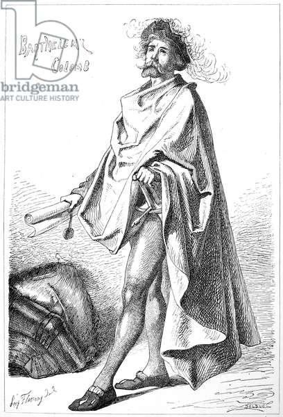 BARTHOLOMEW COLUMBUS ( c.1445- c.1514). Italian sea captain in Spanish service and brother of Christopher Columbus. Etching, 1800s.