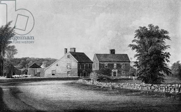 ADAMS: BIRTHPLACE The birthplaces of Presidents John Adams and John Quincy Adams at Quincy (then part of Braintree) Massachusetts. Line engraving, 19th century.