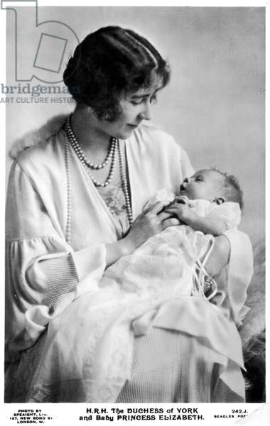 QUEEN ELIZABETH II (1926-) Queen of Great Britain, 1952- . The first photograph of the future Queen with her mother, Elizabeth Bowes-Lyon, then Duchess of York, 1926.