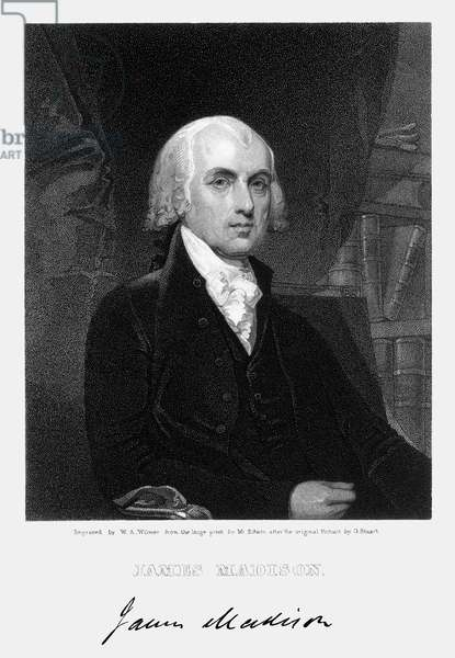 JAMES MADISON (1751-1836) 4th President of the United States. Stipple engraving, 1836, by W.A. Wilmer after a painting by Gilbert Stuart.