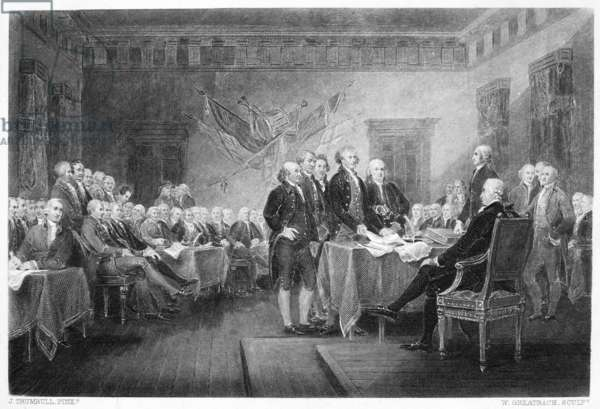 DECLARATION OF INDEPENDENCE The signing of the Declaration of Independence in Congress, at the Independence Hall, Philadelphia, Pennsylvania, 4 July 1776. Steel engraving after the painting by John Trumbull.