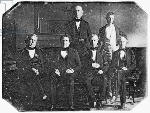 POLK CABINET, c.1846 From left: Attorney General John Y. Mason; Secretary of War William L. Marcy; Postmaster General Cave Johnson; President James Knox Polk; Secretary of the Navy George Bancroft; and Secretary of the Treasury Robert J. Walker. Daguerreotype, c.1846.