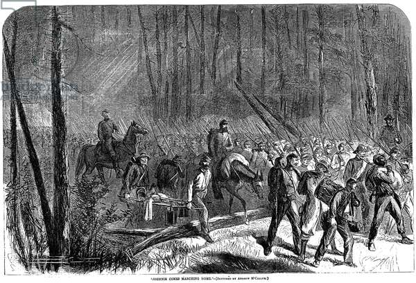 CIVIL WAR: WAR'S END, 1865 Confederate soldiers returning home after the war's end: wood engraving, American, 1865.