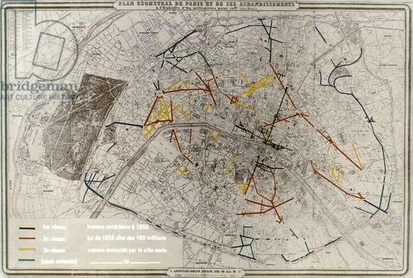 PARIS: MAP, 1869 Plan of Paris, France, 1869, showing the Haussmann boulevards.
