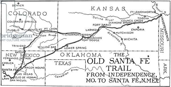 NEW MEXICO: SANTA FE TRAIL Map of the Santa Fe Trail from Independence, Missouri, to Santa Fe, New Mexico.