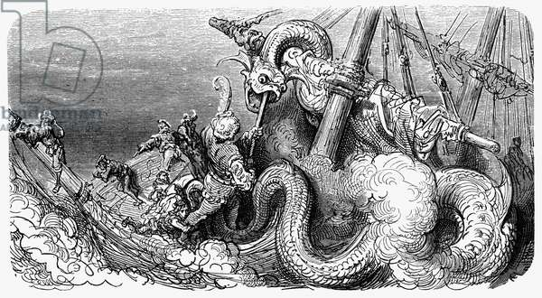 RABELAIS: PANTAGRUEL A sea monster attacks Pantagruel's ship (IV, 34). Wood engraving after Gustave Doré from an 1873 edition of François Rabelais' 'Gargantua and Pantagruel.'