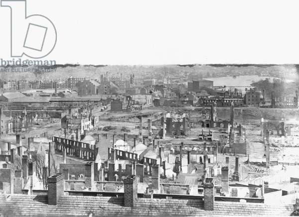 CIVIL WAR: RICHMOND Aerial view of the burned district of Richmond, Virginia following the American Civil War. Photograph by Alexander Gardner, April 1865.